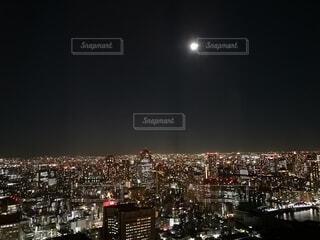 空,夜,夜景,夜空,屋外,東京,都会,月,高層ビル,満月,汐留
