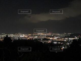 自然,夜,夜景,屋外,晴れ,暗い,水面,キャンプ場,福岡,博多湾,若杉山,黄砂無し