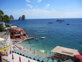 海,空,屋外,湖,ビーチ,ボート,船,水面,イタリア,カプリ島,ナポリ,水上バイク