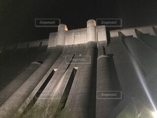 空,ライトアップ,ダム,黒と白,小里川ダム,夜のダム