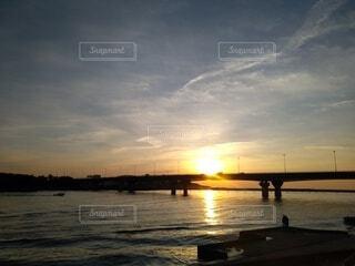風景,空,屋外,太陽,朝日,雲,川,水面,海岸