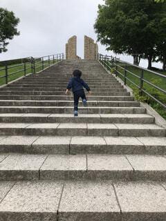 風景,公園,屋外,階段,子供,人物,人,通り
