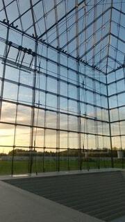 風景,空,夕日,透明な壁