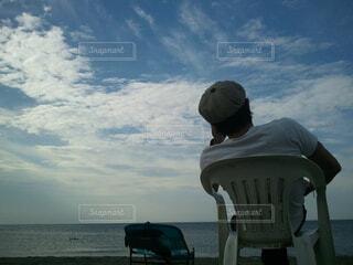 空,屋外,湖,ビーチ,雲,水面,椅子