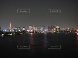 風景,夜,水面,タワー,都会,東京bay