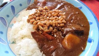 納豆カレーの写真・画像素材[4218593]