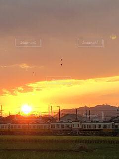 風景,空,夕日,雲,電車,夕暮れ,景色