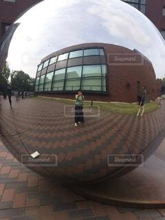 建物,アート,映る,丸い,球体