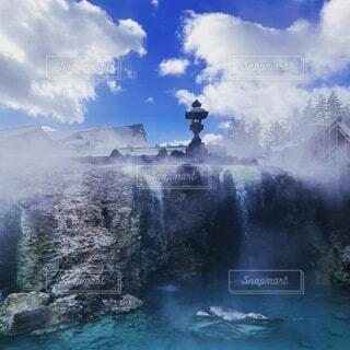 自然,風景,空,冬,温泉,屋外,雲,水面,霧,山,滝,眺め,日中
