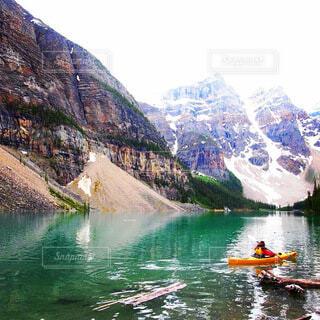 自然,風景,夏,屋外,湖,ボート,波,カヌー,水面,山,日中