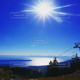 海,空,夏,屋外,太陽,雲,山,樹木,眺め,日中