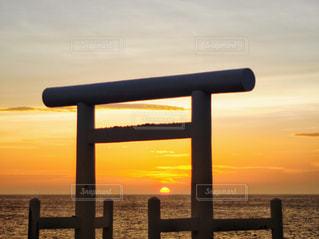 風景,海,夕焼け,鳥居,夕陽,福岡,桜井二見ヶ浦