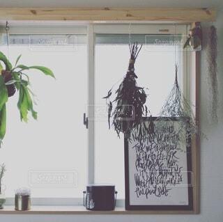 窓の前に花を咲かせる花瓶の写真・画像素材[4154098]