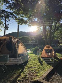 野原のテントの写真・画像素材[4154226]