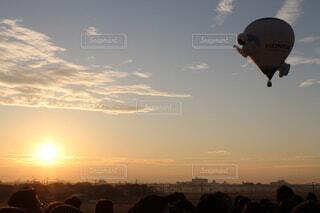 風景,空,屋外,太陽,雲,夕暮れ,風船,航空機