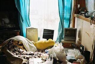屋内,部屋,カーテン,コンピューター,ベッド