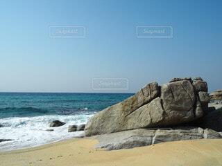自然,風景,海,空,屋外,ビーチ,足,水面,足跡,岩,屋久島