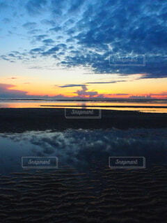 海,空,夕日,雲,水面,アート,雲海,コントラスト,ドキドキ