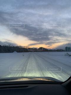 空,冬,雪,屋外,雲,朝焼け,寒い