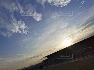 空,屋外,太陽,ビーチ,雲,夕暮れ