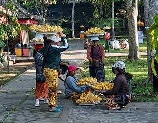 女性,食べ物,風景,屋外,観光地,果物,野菜,樹木,人物,人,市場,東南アジア,マーケット,仕事,バリ島,通り,ファストフード,バナナ,販売,物売り,地元の料理