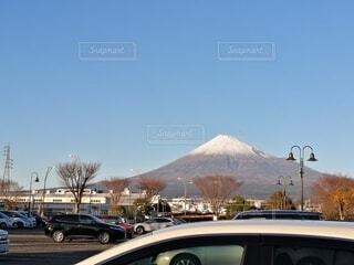 空,富士山,雪,屋外,車,山,通り,車両