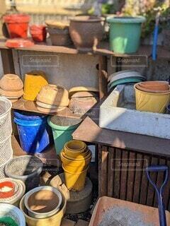 庭,屋外,カラフル,ガーデニング,植木鉢,明るい,鉢,ガーデン,多色
