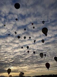 風景,空,夕日,屋外,雲,幻想的,気球,アート,バルーン,素材,バルーンフェスタ