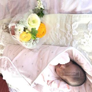 花,屋内,花瓶,バラ,薔薇,布,赤ちゃん,ベッド