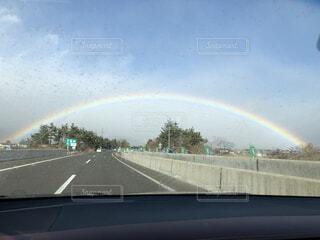 風景,空,屋外,虹,道路,レインボー,高速道路,道