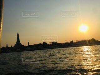 風景,海,空,屋外,湖,太陽,ビーチ,雲,夕暮れ,船,水面,灯台,タイ,Thailand
