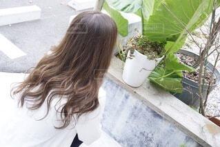 屋外,人物,植木鉢,人,観葉植物