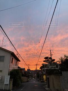 空,屋外,太陽,雲,夕暮れ,家,樹木