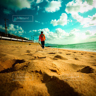 自然,海,空,屋外,砂,ビーチ,雲,砂浜,水面,人物,人,日中