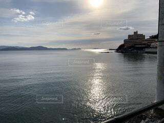 風景,海,空,夕日,屋外,湖,ビーチ,雲,水面,海岸,旅行