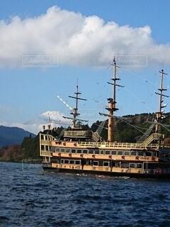 自然,空,富士山,絶景,雪,屋外,山,芦ノ湖,空気,遊覧船