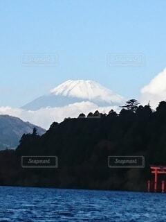 自然,富士山,絶景,雪,屋外,鳥居,山,芦ノ湖