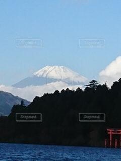 自然,富士山,絶景,雪,屋外,鳥居,水面,山,芦ノ湖