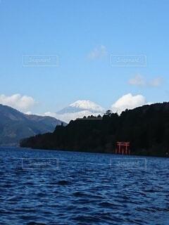 自然,空,富士山,絶景,雪,屋外,湖,雲,鳥居,水面,山,芦ノ湖