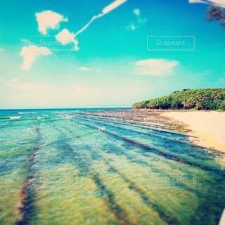 海,空,ビーチ,雲,青空,島,水面,ブルースカイ,コバルトブルー