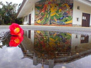 雨の日の三井楽教会の写真・画像素材[4173057]