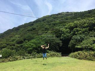 友ヶ島でジャンプの写真・画像素材[4322634]
