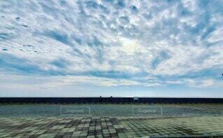 空,屋外,ビーチ,雲,水面,人影,浦安