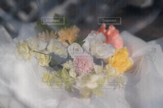 花束とレースの写真・画像素材[4185676]