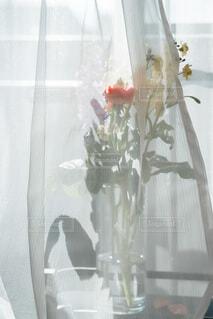 窓際の花束の写真・画像素材[4185682]