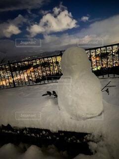 空,冬,夜景,雪,綺麗,景色,雪だるま,やけい