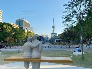 公園のカップルの写真・画像素材[4195937]