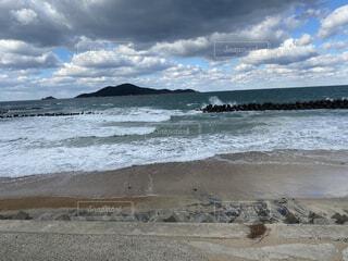 自然,風景,海,空,屋外,湖,砂,ビーチ,雲,砂浜,かっこいい,波,水面,海岸,山,山口,カッコイイ