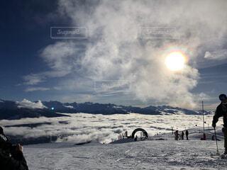 空,冬,雪,屋外,雲,山,雲海,スキー場