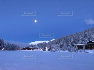 自然,空,冬,雪,屋外,月,早朝